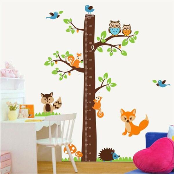 Large Cute Height Measure Wall Stickers for Kids Animal ...