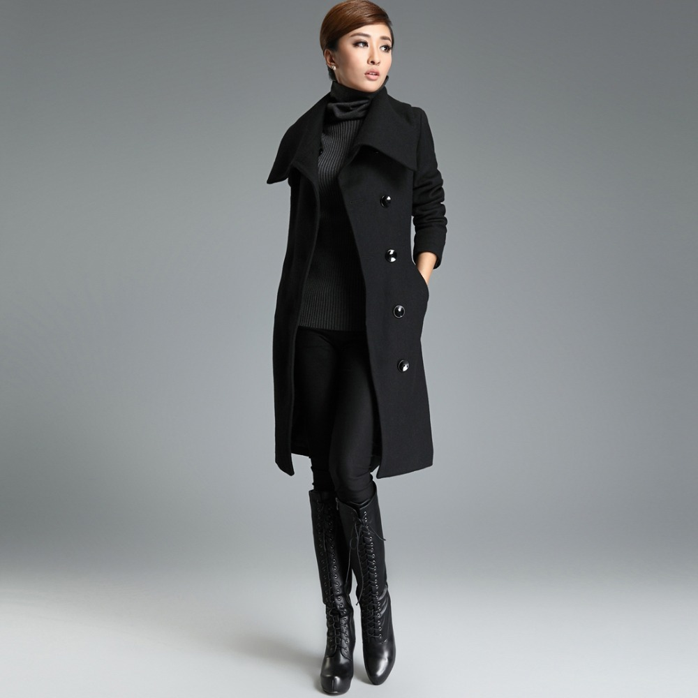 womens long wool coats fur
