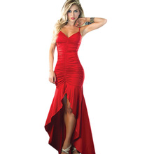 Europe Red Sexy Spaghetti Strap Cocktail robe Party Dress For Women Clothes Open Back Elegant Night Club Dovetail Long Dresses(China (Mainland))