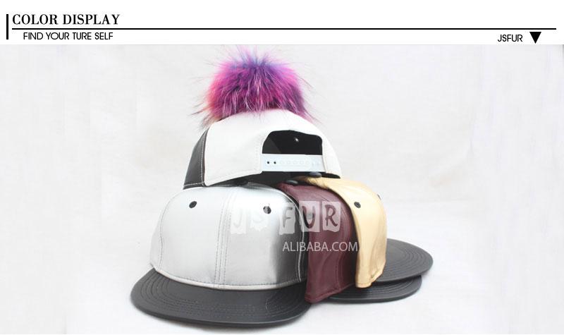 ᐂNew fashion hitam putih asli bulu rakun bulu pompon topi baseball ... 51e4cce4c4