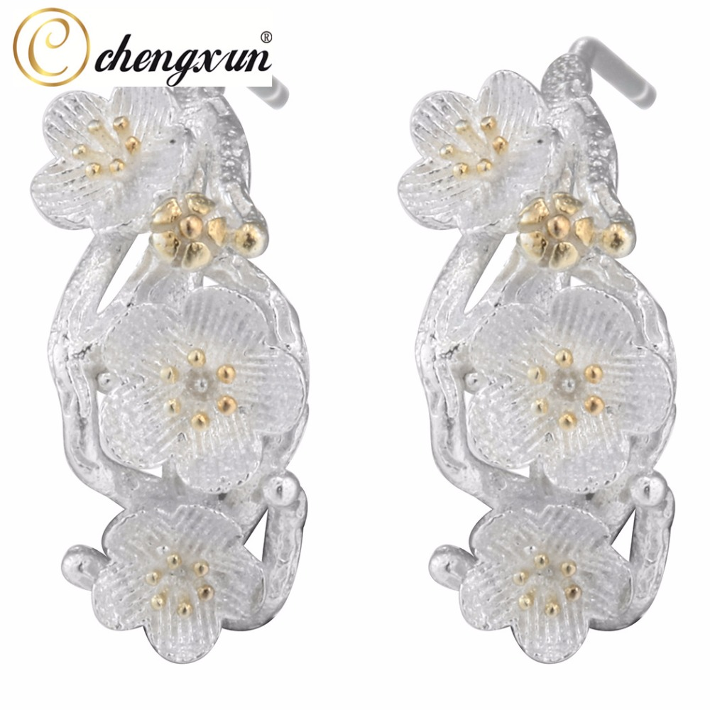 IMG_8357 (2)  CHENGXUN Cherry Blossom Equipment Department Flowers Stud Earrings For Girls Marriage ceremony Social gathering Silver Earring Ladies Birthday Decor HTB1oR0kQXXXXXbMaXXXq6xXFXXXd