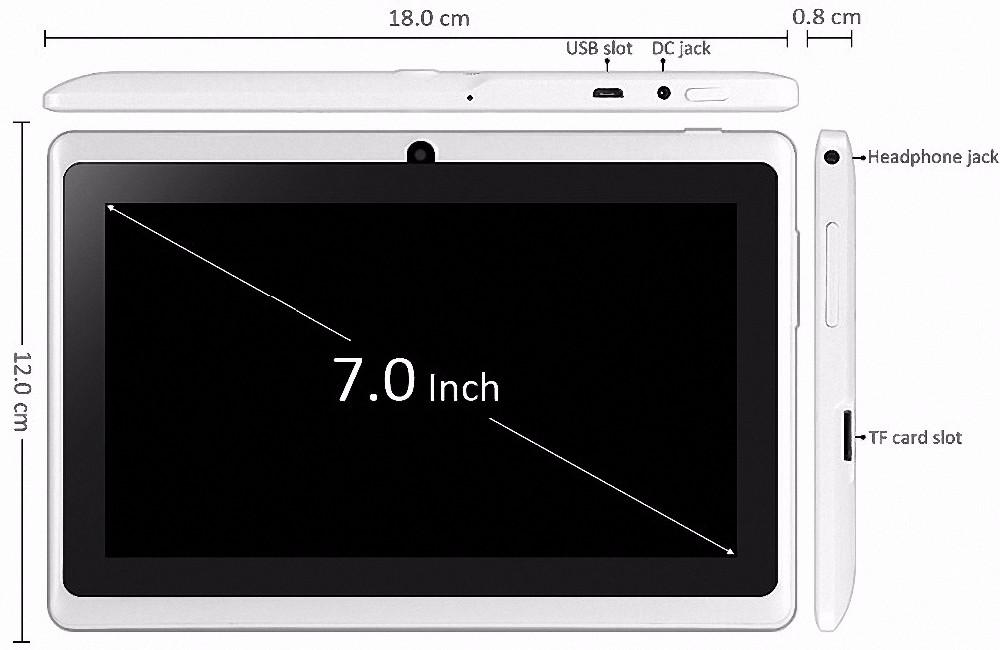 ביג רמקול לחזק את נפח 7 אינץ אנדרואיד Tablet pc 1GB Rom 16GB Ram מצלמה כפולה Quad Core צבע זהב תמיכה ב-Google Play