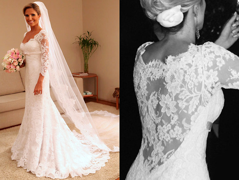 Vintage Wedding Gowns Plus Size Zipper Closed Lace Wedding