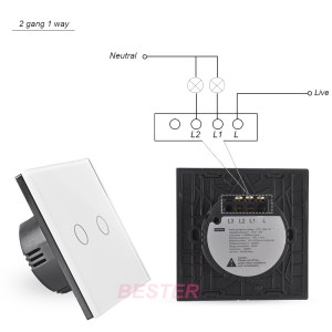 Voltage Ac110240v White Crystal Glass Panel,2 Gangs 1 Way,Zwave Touch Switchhome Wall Light