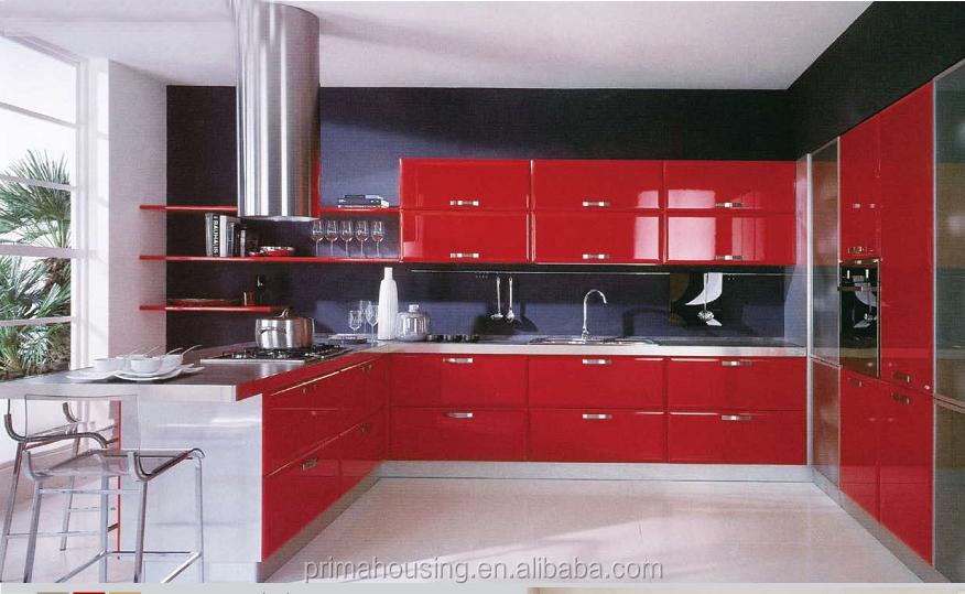 Luxury Kitchen DesignRed Lacquer Kitchen CabinetShiny