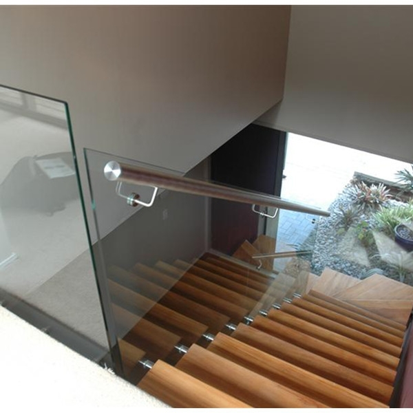 Glass Railing Stainless Steel Wall Mounted Handrail Bracket | Wall Mounted Handrails For Outdoor Steps | Hand Rail | Stainless Steel | Handrail Ideas | Metal Stair | Staircase