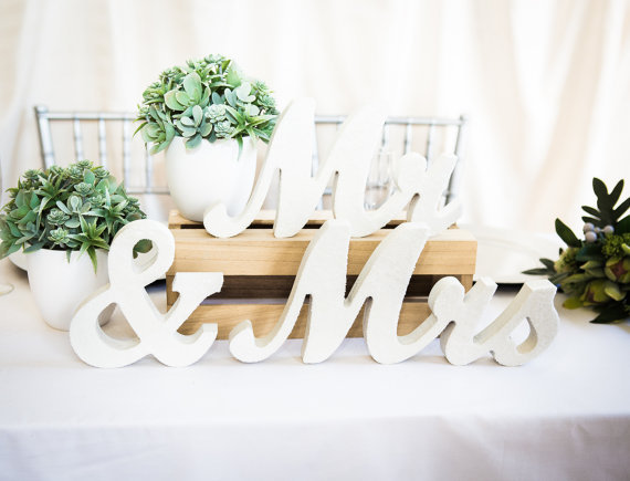 Mr Mrs Wedding Table Signs For Sweetheart Table Decor