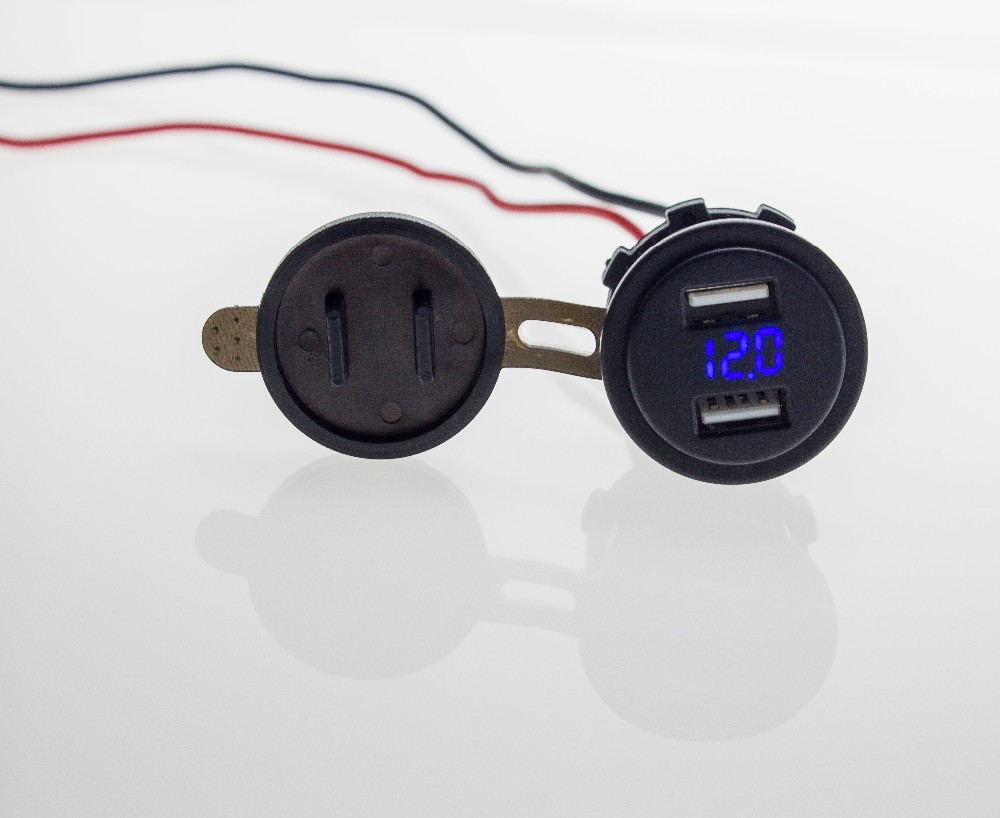 Dual USB מטען עם מתח מודד אופנוע 12~38V 4.2 עם LED הכחול עבור רכב הסירה משאית להחליף לוח