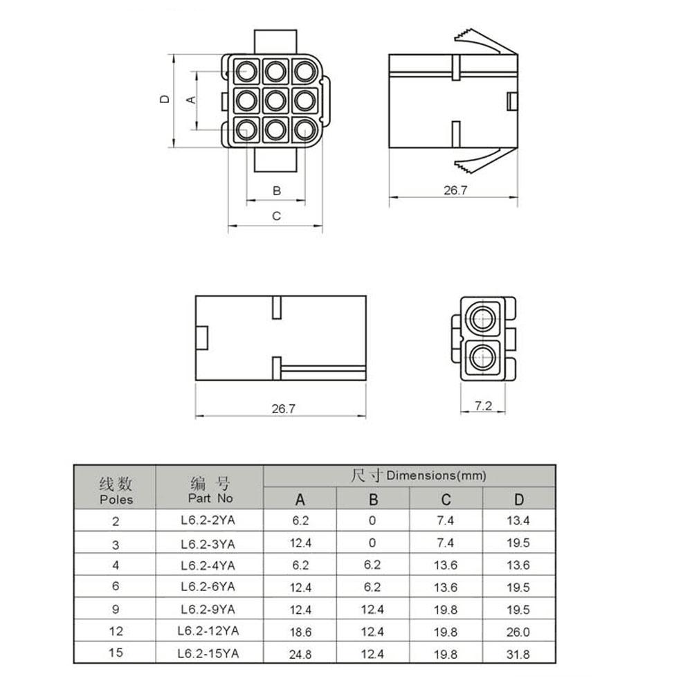 10 Sets Big Tamiya 2 Pin L62 Konektor Plug Dengan Sayap Laki Tutup Kancing 12 Merah Baut L6 Dan Perempuan Docking Udara 62mm Pitch Listrik