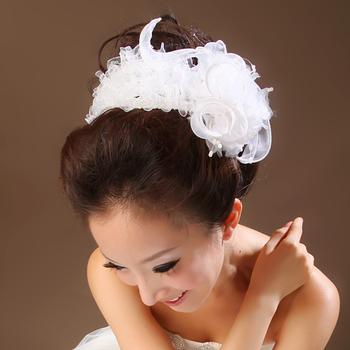 2015 elegant white lace bridal headdress hair accessories hair band wedding photography garland