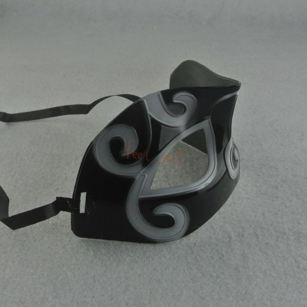 Black And White Half Flat Face Carved Mask Hunting Costume ...