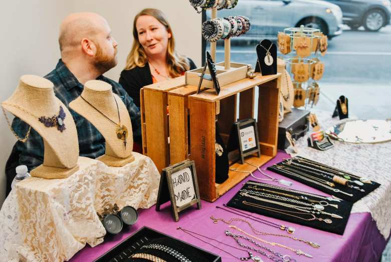 Handmade Jewelry Creator based on Long Island sells their goods at WorkSmart Coworking Space Small Business Market.