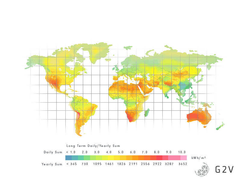Solar intensities across the globe / map of the world