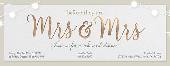Wedding Mrs Invitation Free Rehearsal Dinner