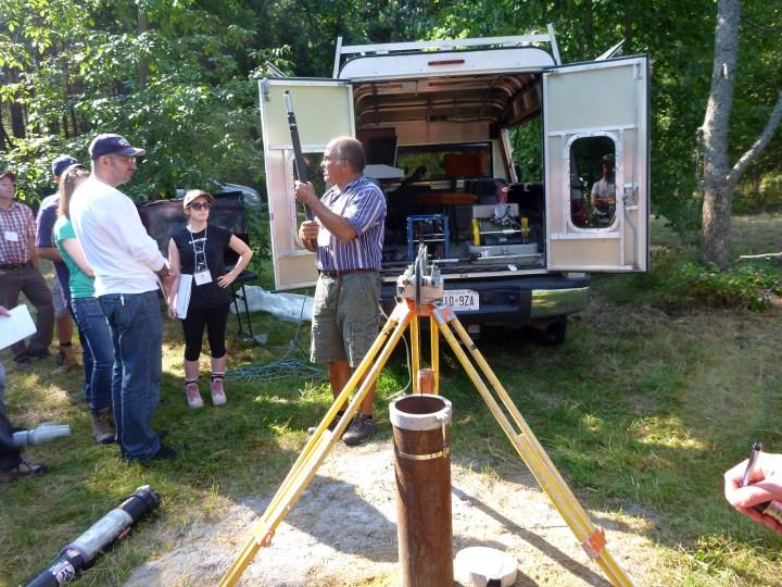 Pete Pehme teaching geophysics in the field