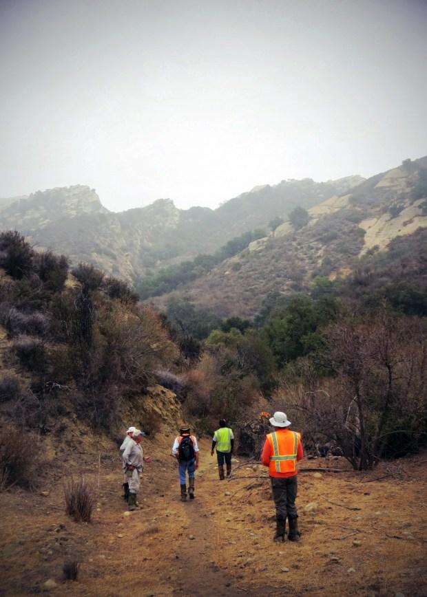 SSFL field site in California hiking to the field site