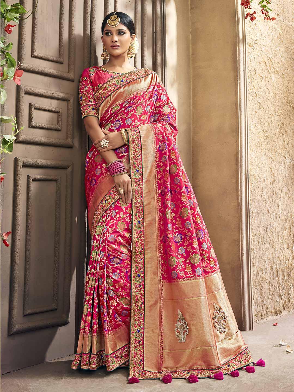 Pink Color Saree In Banarasi Silk Fabric