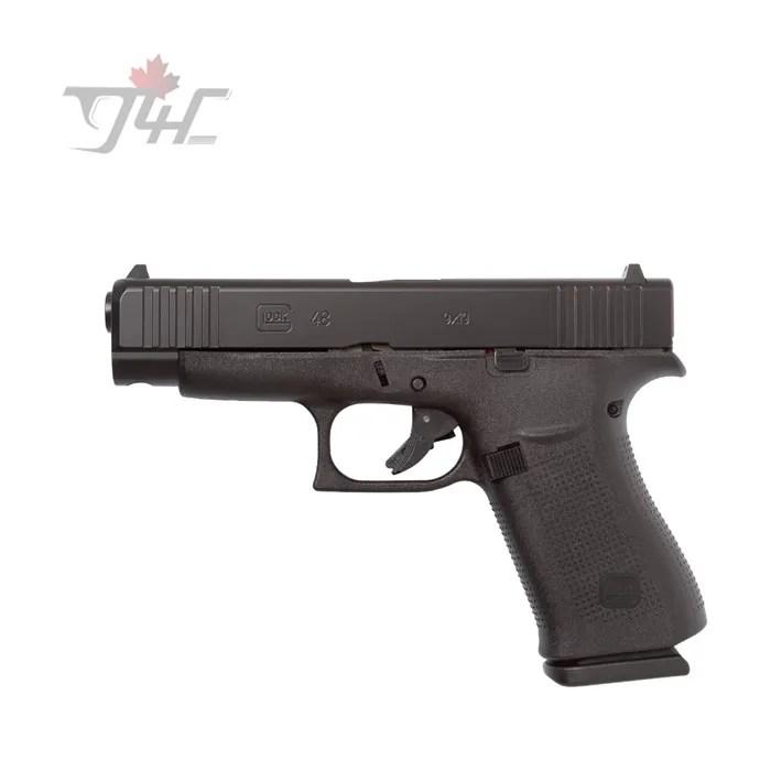 Glock 48 Fixed Sights/Glock Night Sights/Ameriglo Bold Sights 9mm 4 17″  Black(Pre-Order)