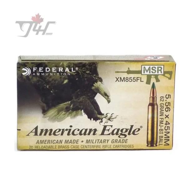 Fed. American Eagle 5.56x45mm MSR 62gr. FMJ-BT BALL 20rds