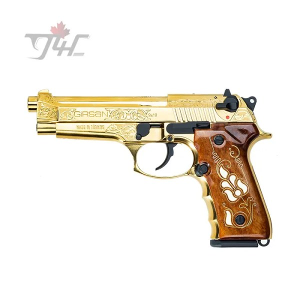 """Girsan Regard MC 9mm 4.9"""" BRL Full Gold Engraved"""