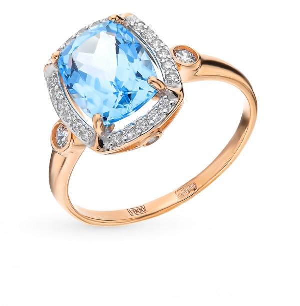 Золотое кольцо с топазами и фианитами SOKOLOV 714983 ...