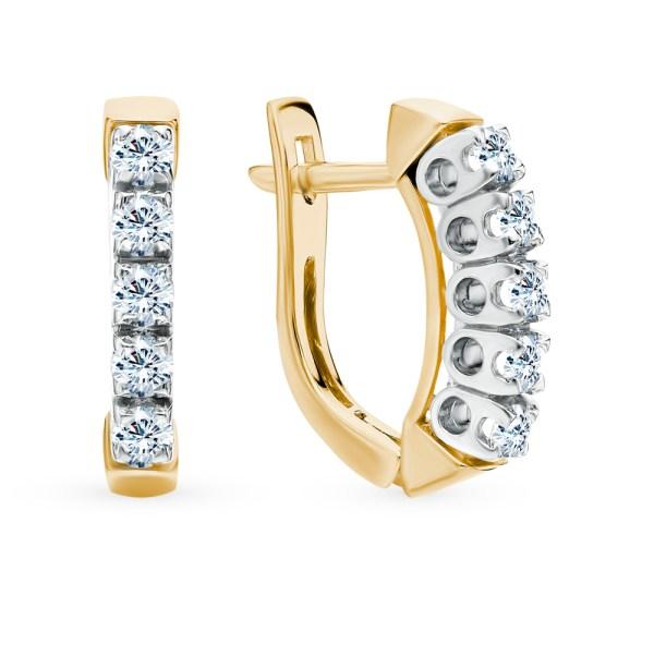 Золотые серьги SUNLIGHT «Бриллианты Якутии»: жёлтое золото ...