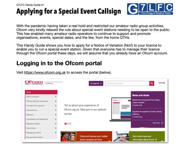 G7LFC Handy Guide #1 - Applying for a Special Event Callsign