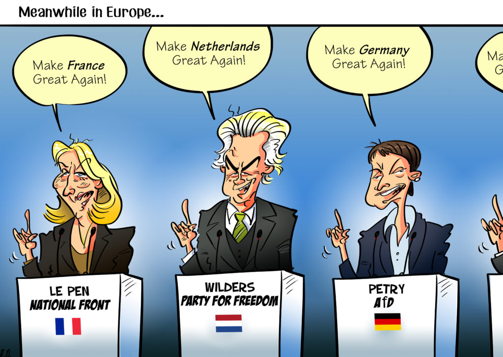 Le Pen, Wilders, Petry, cartoon by Rytis Daukantas