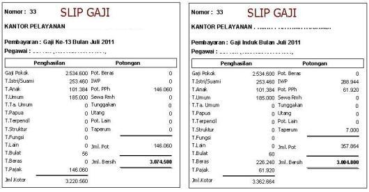 Gaji ke-13 PNS tahun 2011