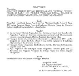 2 Non Tabel Tunjangan Kinerja Pegawai Di Lingkungan Sekretariat Negara Dan Sekretariat Kabinet
