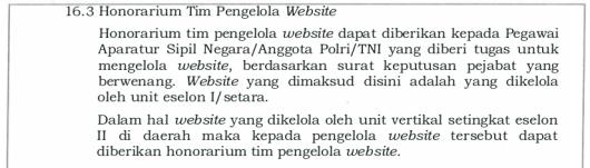 Keterangan Tambahan Honorarium Tim Pengelola Website