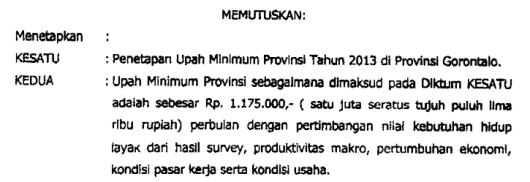 UMP Gorontalo 2013