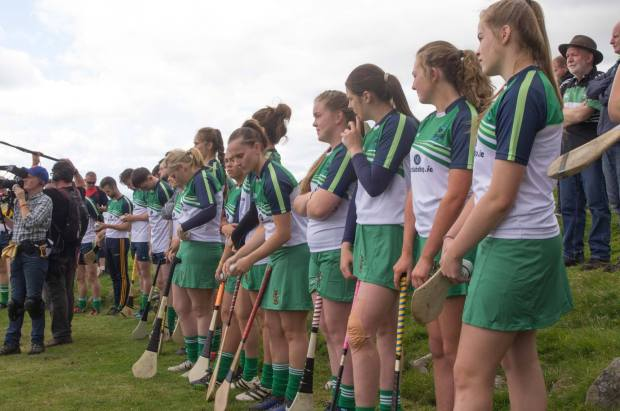 GAA Poc Fada All Ireland Finals 2017 Camogie contestants line-up at the start.