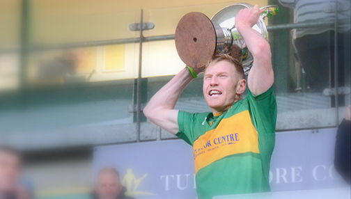 Rhode Cpatain lifts the Offaly GAA 2020 Senior Football Championship Trophy [Reference: 5][Picture Credit: Offaly GAA]