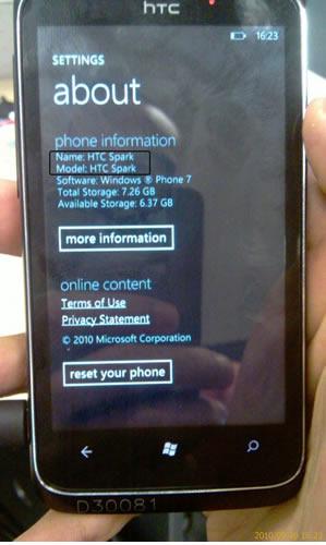 HTC Spark HTC Trophy con Windows Phone 7