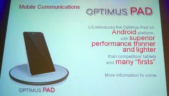 LG Pad - Computador Tipo Tablet con Android Honeycomb