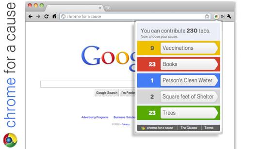 Google Chrome for a Cause - Google dona por navegacion en Chrome