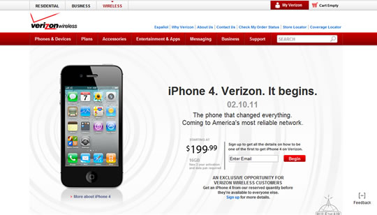 Apple iPhone 4 en Verizon