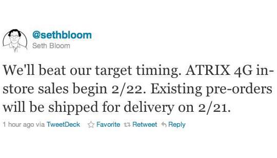 Motorola Atrix 4G en Estados Unidos Febrero