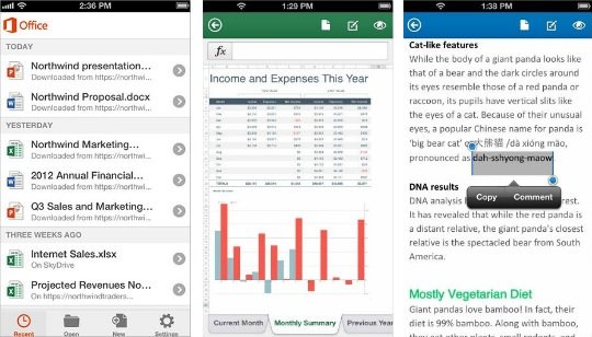 Microsoft Office para iPhone