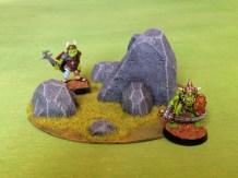 scratch built wargaming terrain - rock outcrops