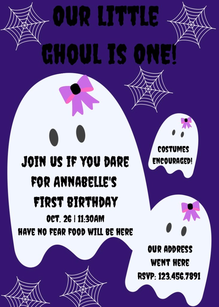 First Birthday Party Halloween theme invite