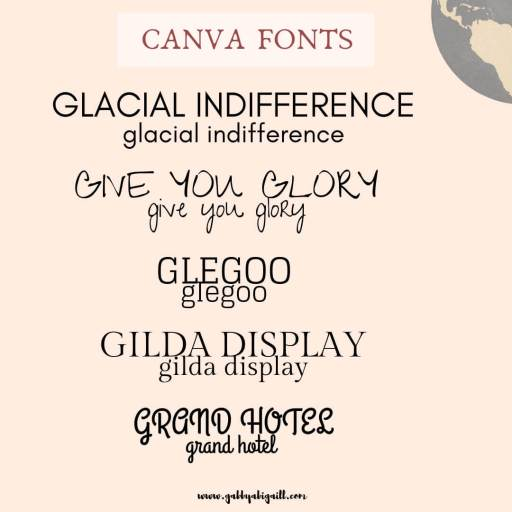 Fonts that start with the letter G