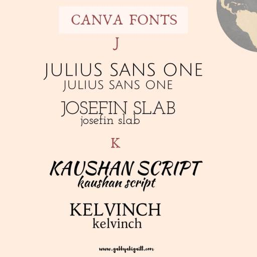 Fonts that start with the letter J and K