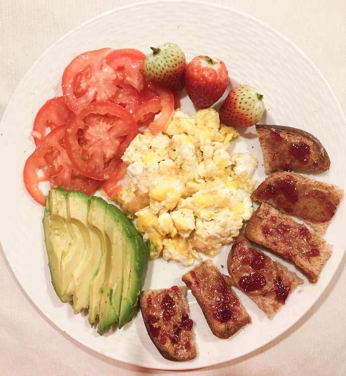 pb and j and scrambled eggs