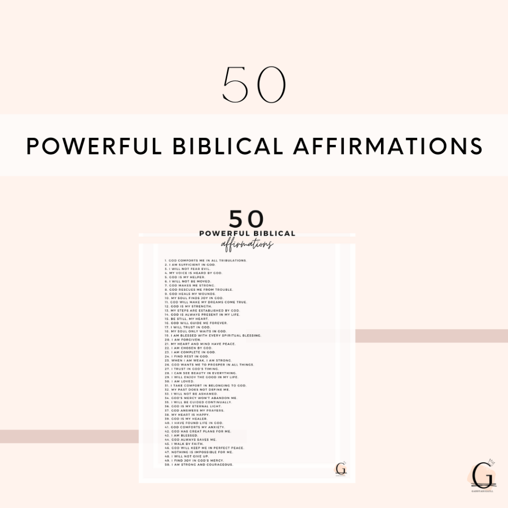 50 Powerful Biblical Affirmations Printable Resource Library