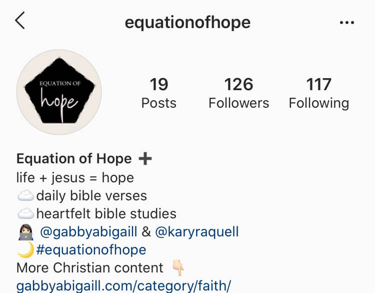 instagram account @equationofhope