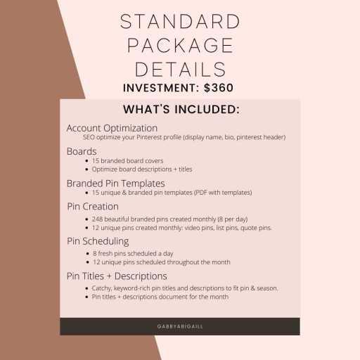pinterest management services standard package details
