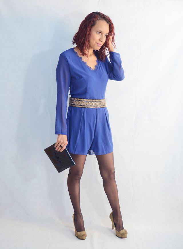 Look elegante con mono azul12