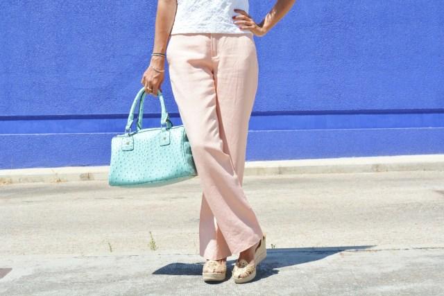 Pantalón rosa cuarzo y turquesa 14